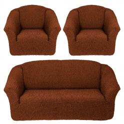 Чехол на диван и 2 кресла без юбки, цвет Темно-рыжий