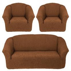 Комплект чехлов на диван и два кресла без оборки Коричневый