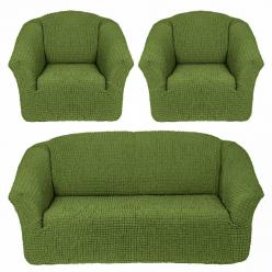 Чехол на диван и 2 кресла без юбки, цвет Зеленый