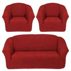 Комплект чехлов на диван и два кресла без оборки Кирпичный