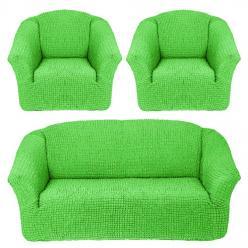 Чехол на диван и 2 кресла без юбки, цвет Салатовый