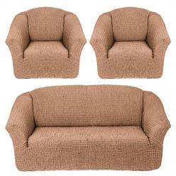 Чехлы на диван и кресла без юбки Песочный
