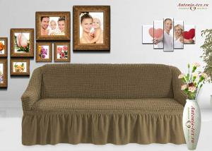 Чехол на диван с юбкой на резинке, цвет Темно-фисташковый