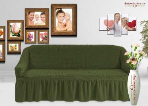 Чехол на диван Жатка с оборкойЗеленый