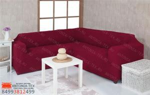 Чехол на угловой диван без юбки, цвет бордовый