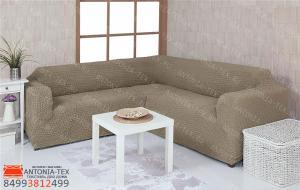Чехол на угловой диван без юбки, цвет оливковый