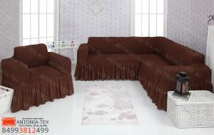 Чехол на угловой диван и кресло с оборкой Шоколад