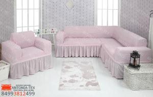 Чехол на угловой диван и кресло с оборкой Розовый