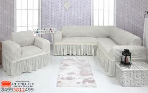 Чехол на угловой диван и кресло с оборкой Кремовый