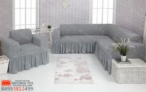 Чехол на угловой диван и кресло с оборкой Серый