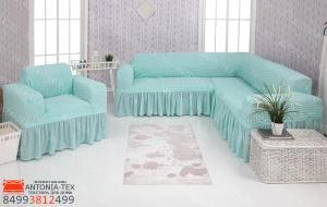 Чехол на угловой диван и кресло с оборкой Бирюзовый