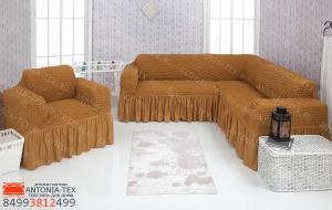 Чехол на угловой диван и кресло с оборкой Горчица
