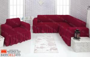 Чехол на угловой диван и кресло с оборкой Бордовый