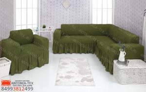 Чехол на угловой диван и кресло с оборкой Зеленый