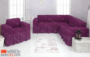Чехол на угловой диван и кресло с оборкой Сливовый