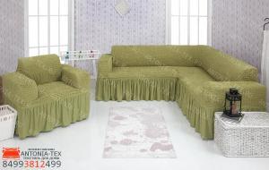 Чехол на угловой диван и кресло с оборкой Фисташковый