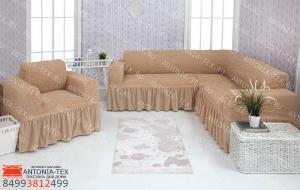 Чехол на угловой диван и кресло с оборкой Песочный