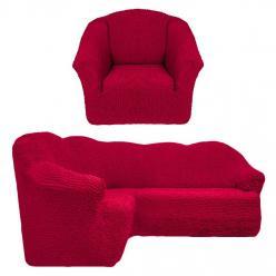 Чехол на угловой диван и кресло универсальный без оборки Бордовый