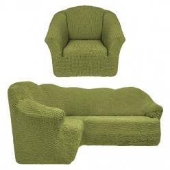 Чехол на угловой диван и кресло универсальный без оборки Фисташковый