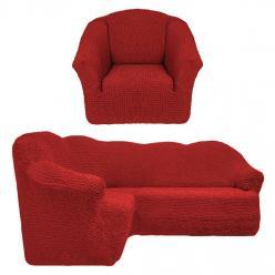Чехол на угловой диван и кресло универсальный без оборки Кирпичный