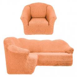 Чехол на угловой диван и кресло универсальный без оборки Коралловый