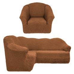 Чехол на угловой диван и кресло универсальный без оборки Коричневый