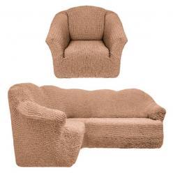 Чехол на угловой диван и кресло универсальный без оборки Песочный
