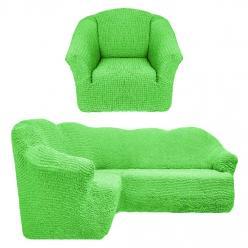 Чехол на угловой диван и кресло универсальный без оборки Салатовый