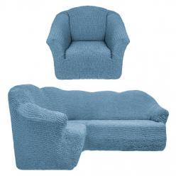 Чехол на угловой диван и кресло универсальный без оборки Серо-голубой