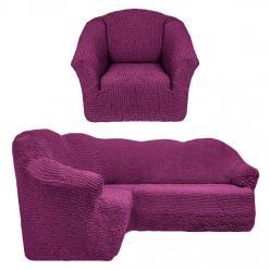 Чехол на угловой диван и кресло универсальный без оборки Сливовый