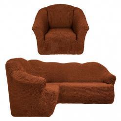 Чехол на угловой диван и кресло универсальный без оборки Темно-рыжий