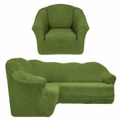 Чехол на угловой диван и кресло универсальный без оборки Зеленый