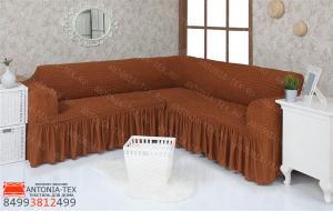 Чехол на угловой диван с оборкой модель 209 Темно-Рыжий