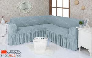 Чехол на угловой диван с оборкой модель 215 Серо-голубой