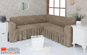 Чехол на угловой диван с оборкой Хаки
