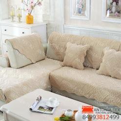 Дивандеки накидкa на диван велюр Веточка бежевый