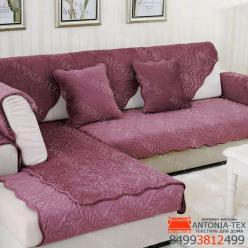 Дивандеки накидкa на диван велюр Веточка брусника
