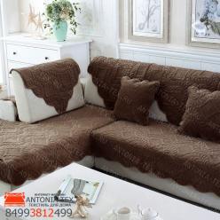 Дивандеки накидкa на диван велюр Веточка коричневый