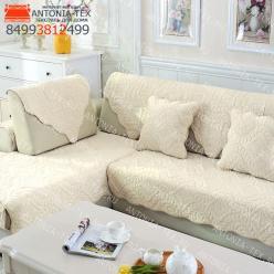 Дивандеки накидкa на диван велюр Веточка молочный