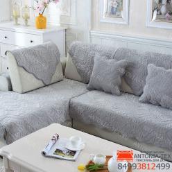 Дивандеки накидкa на диван велюр Веточка серый