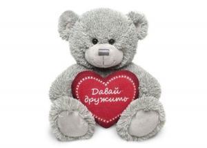 Медвежонок Стив серый с бордовым сердцем муз.