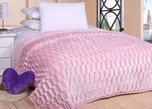 Меховой плед-покрывало Кирпичики Розовый