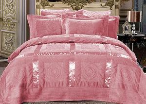 Меховой плед-покрывало с атласной лентой Розовый