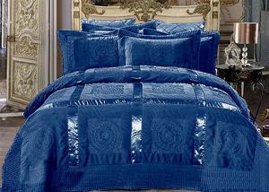 Меховой плед-покрывало с атласной лентой Синий