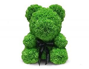 Мишка из роз 40 см. зеленый в подарочной коробке