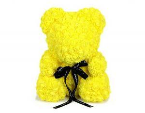 Мишка из роз 40 см. желтый в подарочной коробке