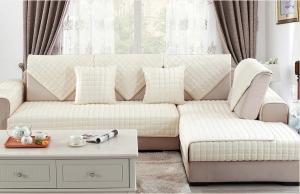 Накидка на диван и 2 кресла мех шиншилла кубик сливочный