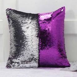 Наволочка с пайетками серебристо-фиолетовый