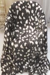 Плед флисовый Мрамор серый