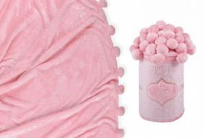 Плед с помпонами розовый